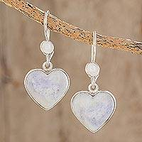 Jade heart earrings, 'Lilac Love Immemorial' - Lavender Jade Heart Shaped Sterling Silver Earrings