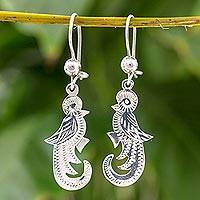 Sterling silver dangle earrings, 'Quetzal Song' - Handcrafted Sterling Silver Dangle Bird Earrings