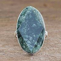 Jade cocktail ring, 'Dark Green Maya Mystique' - Handcrafted Jade and Sterling Silver Cocktail Ring
