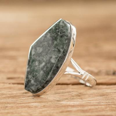 long sparkly silver necklace osrs - Handcrafted Sterling Silver Jade Cocktail Ring