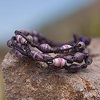 Recycled paper and cotton beaded bracelet, 'Violet Fest' - Recycled Paper Beads Bracelet