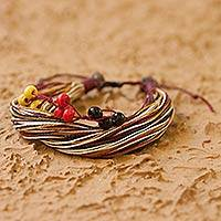 Cotton and pinewood wristband bracelet, 'Maya Corn' - Handcrafted Adjustable Cotton and Wood Bracelet