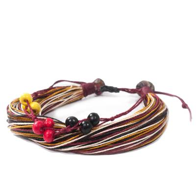 Handcrafted Adjustable Cotton and Wood Bracelet