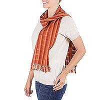 Cotton scarf, 'Autumn Dreams' - Cotton scarf