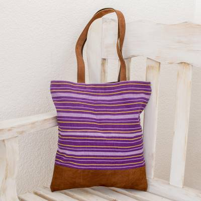 Leather accent cotton shoulder bag, 'Tradition in Lilac' - Hand Woven Cotton and Leather Accent Tote Handbag