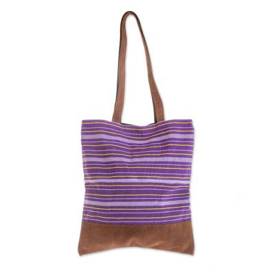 Hand Woven Cotton and Leather Accent Tote Handbag