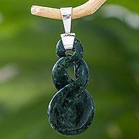 Jade pendant, 'Green Tornado' - Handcrafted Green Jade Pendant