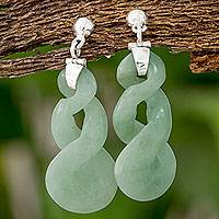 Jade dangle earrings, 'Pale Tornado' - Light Green Jade Dangle Earrings