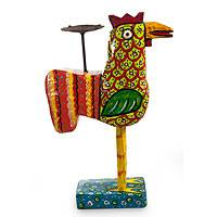 Pinewood and iron candleholder, 'Speckled Green Hen' - Hand Made Wood Candle Holder