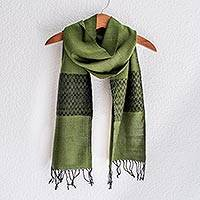 Cotton blend scarf, 'Emerald Mountain' - Cotton blend scarf