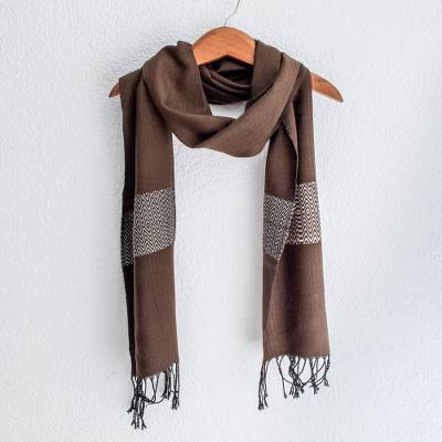 Cotton blend scarf, Espresso Mountain