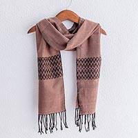 Cotton blend scarf, 'Rosewood Mountain' - Collectible Women's Geometric Blend Scarf