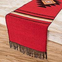 Cotton table runner, 'Red Totonicapan Sun' - Hand Woven Cotton Table Runner
