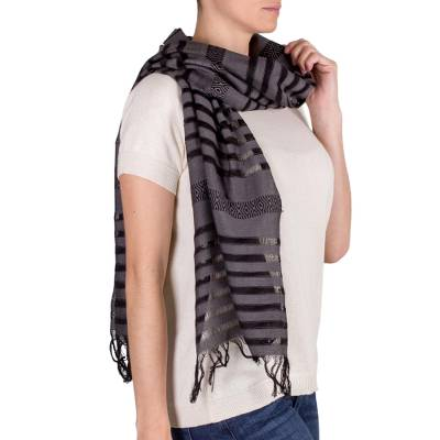 Cotton scarf, Gray Totonicapan Diamonds
