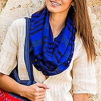 Cotton scarf, 'Blue Totonicapan Diamonds' - Handmade Geometric Cotton Striped Scarf