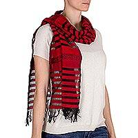 Cotton scarf, 'Red Totonicapan Diamonds' - Cotton scarf