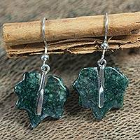 Jade dangle earrings, 'Maya Maple Leaf' - Jade dangle earrings