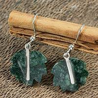 Jade dangle earrings, 'Maya Poplar Leaf' - Jade dangle earrings