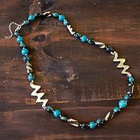Ceramic beaded necklace, 'Azacualpa Feathered Serpent' - Ceramic beaded necklace