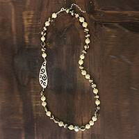 Ceramic beaded necklace, 'Azacualpa Water' - Ceramic beaded necklace