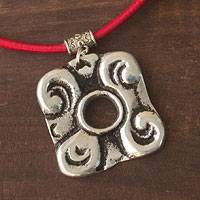 Flower pendant necklace, 'Blossoming Maya' - Flower pendant necklace