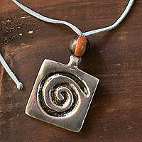 Leather pendant necklace, 'Celestial Life' - Leather pendant necklace