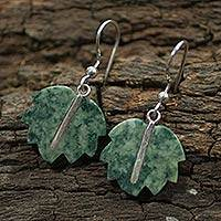 Jade dangle earrings, 'Maya Poplar Leaf in Light Green' - Jade Dangle Earrings Artisan Crafted Jewelry