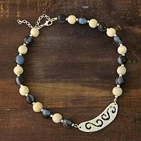 Ceramic beaded necklace, 'Life at Sea' - Ceramic beaded necklace