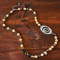 Ceramic beaded necklace, 'Azacualpa Ivory' - Ceramic beaded necklace