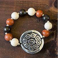 Ceramic beaded bracelet, 'Sun of Azacualpa' - Ceramic beaded bracelet
