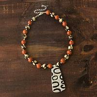 Ceramic beaded necklace, 'Quelapa Ax' - Ceramic beaded necklace