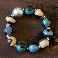 Ceramic beaded bracelet 'Azacualpa Water' - Unique Ceramic Beaded Stretch Bracelet