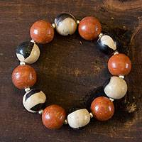 Ceramic stretch bracelet, 'Terracotta Azacualpa' - Handmade Ceramic Stretch Bracelet