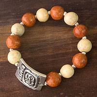 Ceramic stretch bracelet, 'Destiny's Path' - Ceramic Beaded Stretch Bracelet with Pewter Accent
