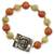 Ceramic stretch bracelet, 'Destiny's Path' - Ceramic Beaded Stretch Bracelet with Pewter Accent  (image 2a) thumbail