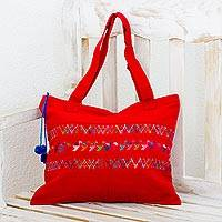 Cotton shoulder bag Red Birds of Toliman Guatemala