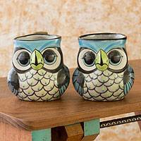 Ceramic mugs, 'Perky Owl' (set of 2) - Handmade Ceramic Mugs (Set of 2)