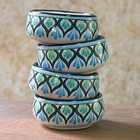 Ceramic soup bowls, 'Owl' (set of 4) - Feathered Design Ceramic Soup Bowls