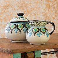 Ceramic creamer and sugar bowl set, 'Owl' - Collectible Hand Painted Ceramic Cream and Sugar Set