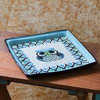 Ceramic serving plate, 'Owl' - Ceramic serving plate