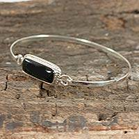 Jade bangle bracelet, 'Forest Night' - Modern Sterling Silver Black Jade Bangle Bracelet
