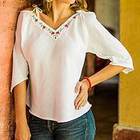 Cotton blouse, 'El Salvador Roses' - Floral Cotton Embroidered Blouse Top from Central America