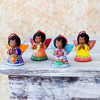 Ceramic ornaments, 'Angels of the Flowers' (set of 4) - Ceramic ornaments (Set of 4)