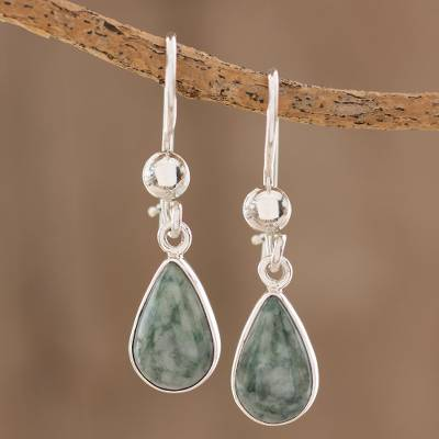 Jade dangle earrings, 'Pale Green Tears' - Fair Trade Sterling Silver Dangle Jade Earrings