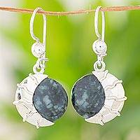 Jade dangle earrings, 'Place of the Moon'