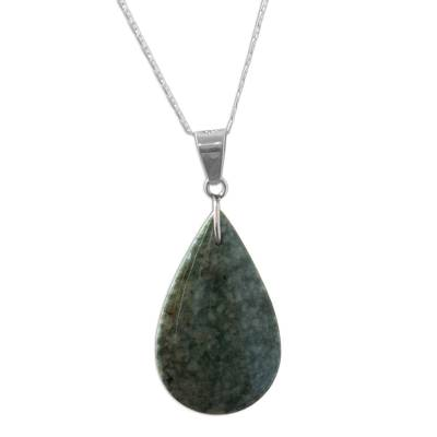 Sterling Silver and Jade Pendant Necklace