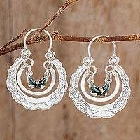 Jade hoop earrings, 'Totonicapan Wreaths' - Jade hoop earrings