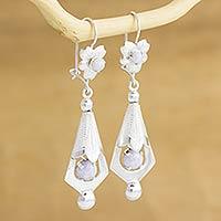 Lilac jade flower earrings,