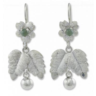 Jade flower earrings
