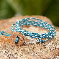 Cotton wrap bracelet, 'Peace' - Central American Turquoise Cotton Wrap Bracelet